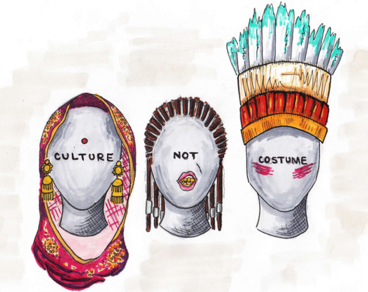 "[feature image shows drawing of 3 instances of cultural appropriation. First, shows mannequin head with bindi on forehead; second shows mannequin with cornrows; and third shows mannequin with a feathered headdress. Text on each mannequin says: ""Culture Not Costume"" via]"