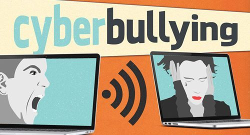 "[feature image shows text that says: ""Cyberbullying"" and a person yelling through a laptop screen at another person who is covering their ears  via ]"