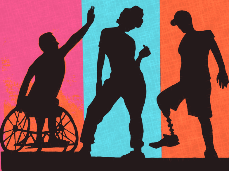 [feature image shows colorful backgrounds and 3 shadows of people in foreground–each has some type of physical disability via]