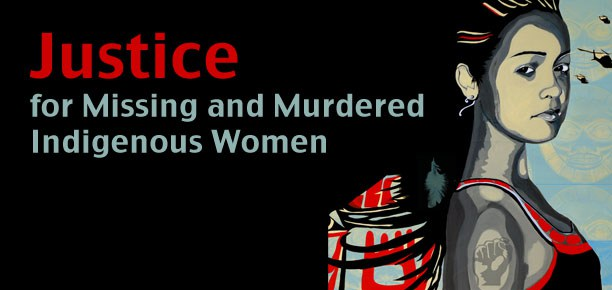 "[feature image shows drawing of Native woman on right. Text on left says: ""Justice for Missing and Murdered Indigenous Women""  via ]"