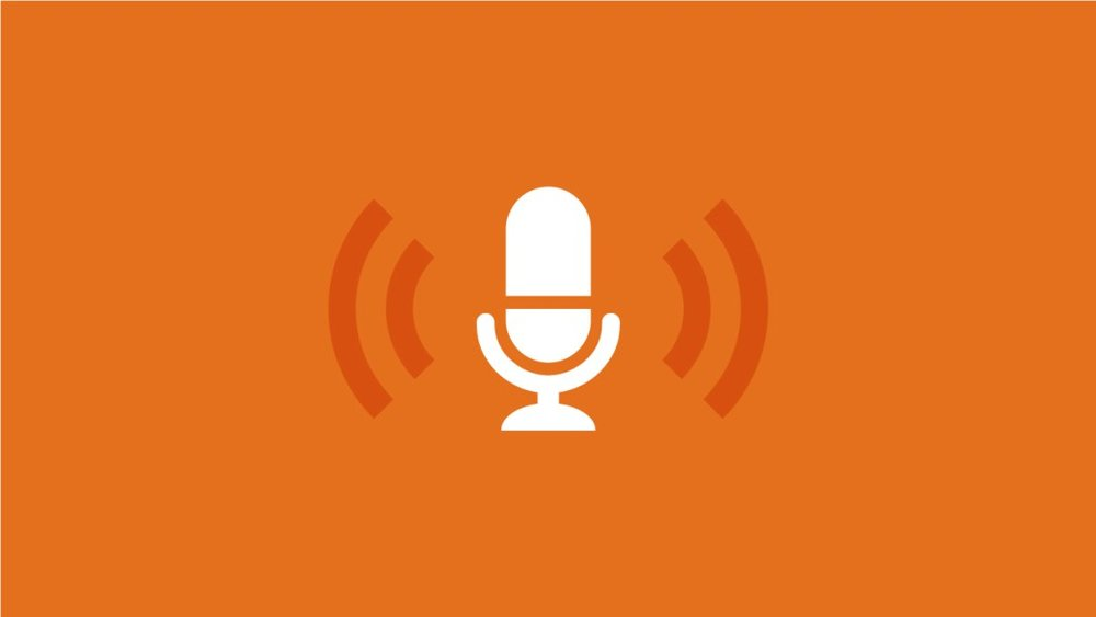 [feature image of orange background with drawing of white microphone in center and 2 curved lines on each side to show amplification of sound    via   ]