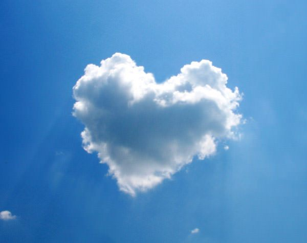 [feature image shows blue sky with cloud in center in the shape of a non-anatomical heart  via ]