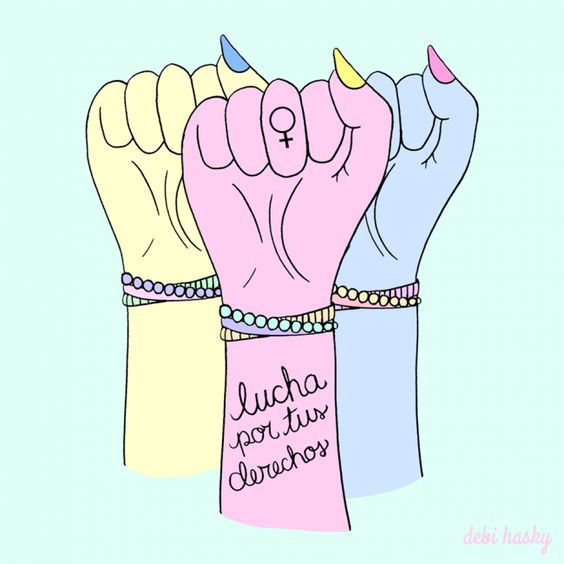 "[feature image shows drawing of 3 raised fists in different pastel colors. On middle fist it says: ""Lucha por tus derechos"" via]"