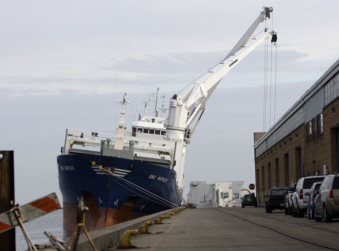 The BBC Napels loading cargo at the Port of Milwaukee. – photo courtesy of Milwaukee Journal Sentinel