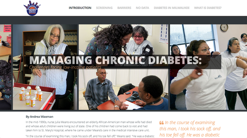 Milwaukee NNS diabetes special project microsite created by Marquette's online editing and design class.