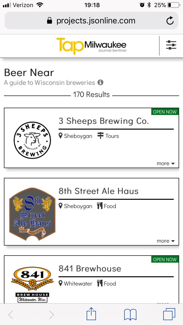 Beer Near - An interactive guide to every Wisconsin brewery and brew pub.ROLE: Front-end web development and database upkeep