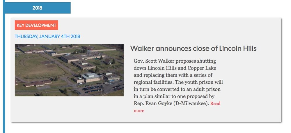 How the Lincoln Hills crisis unfolded - A timeline of the series of incidents that unfolded at Lincoln Hills youth prison leading to its closure.ROLE: Timeline curation, development and index design