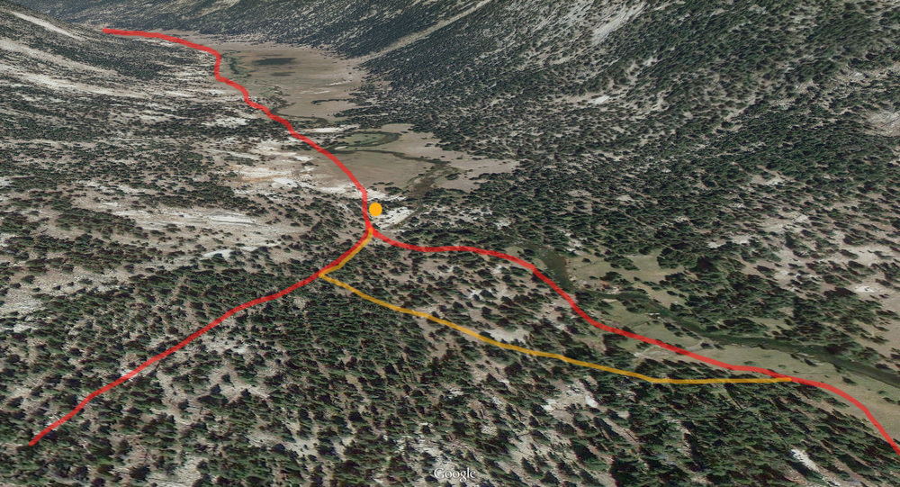The reroute in orange. JMT in red following river. Side trail in red on left.