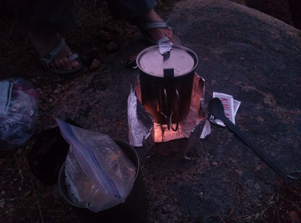 Dinner on the Esbit folding titanium stove