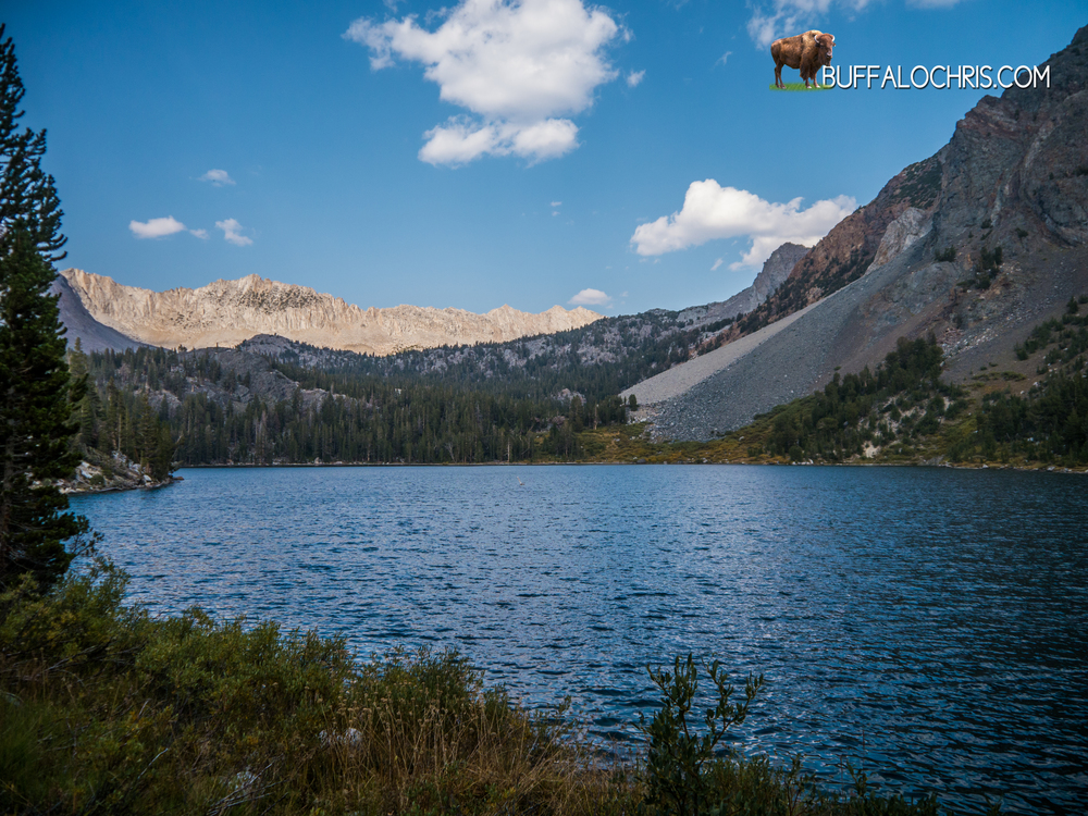 Purple Lake. Water source. Meeting spot. First major landmark that we cross back on the John Muir Trail