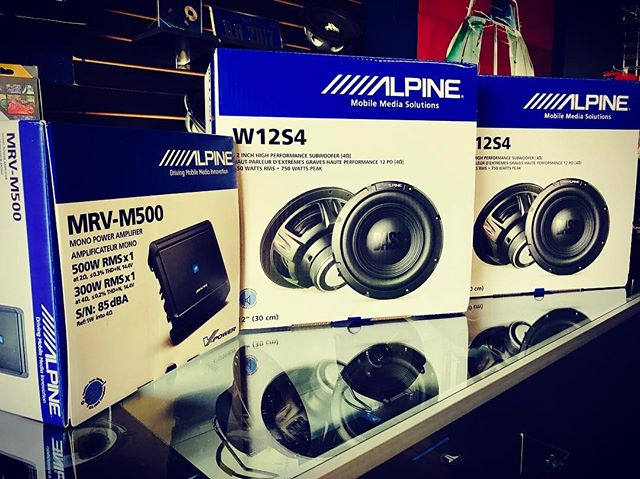 "Alpine sound system package on sale now only $349.00! Package includes two 12"" subwoofers a mono amplifier and a sealed enclosure. Call and set up your appointment 708.474.6625.  #alpine #caraudio #forzacustoms"