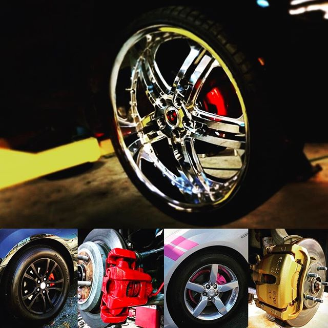 Give your vehicle a new look! Get all four brake calipers painted for only $120.00. Call and schedule your appointment now 708.474.6625  #caliperpaint #merceliwheels #forzacustoms