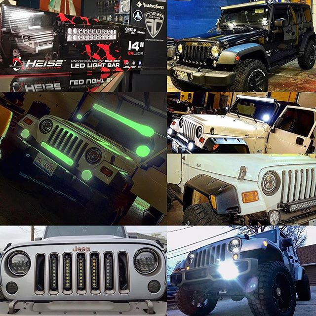 Looking to light up your Jeep? LED light bars, off road lights, halos, we got you covered. For pricing give us a call at 708.474.6625  #jeepwrangler #jeep #offroad4x4 #ledlights #lightbars #haloring #forzacustoms