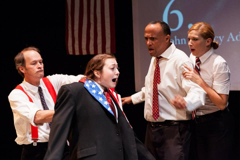 Mark Collins, Chanel Karimkhani, Bradley Spann, and Michelle Moore in square product theatre's 2012 production of  44 Plays for 44 Presidents