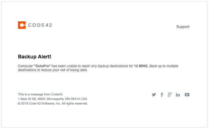 Backup alert before redesign