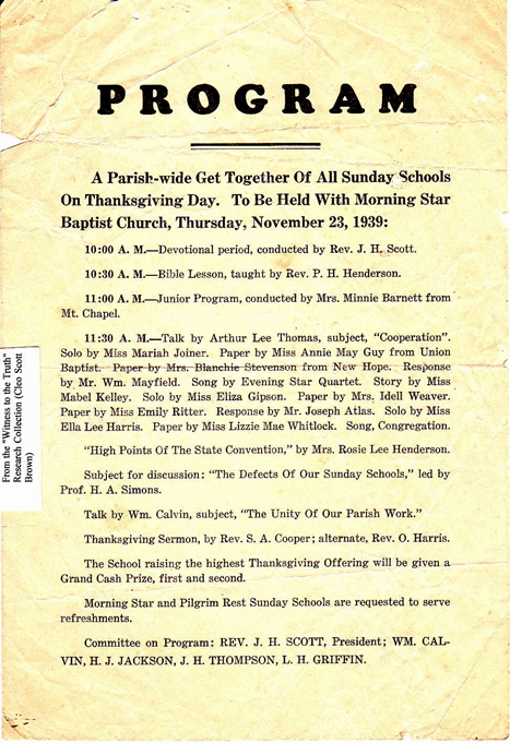 1939 Parish-Wide Sunday School Program