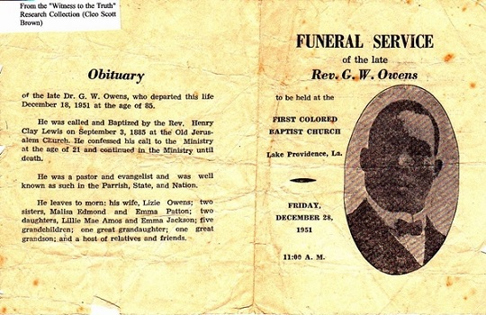 1951 Funeral of Rev. Owens, 1st & 3rd President of East Carroll Baptist Association (2 Pages)