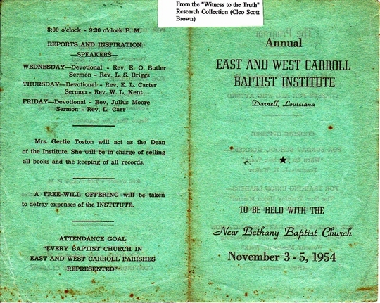 1954 East & West Carrol Baptist Institute (2 pages)