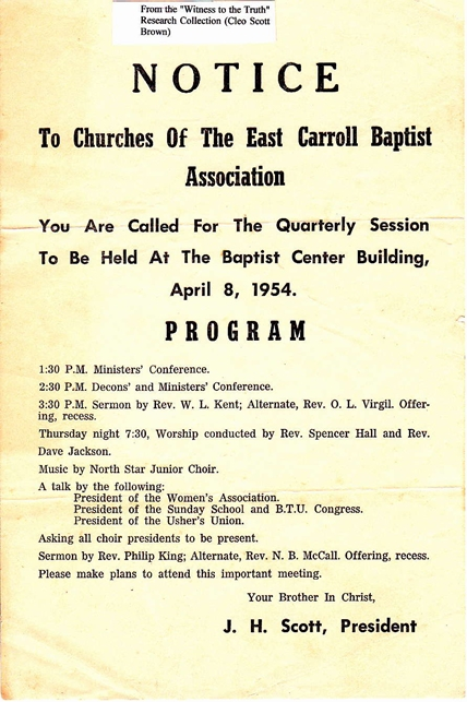 1954 Quarterly Baptist Association Meeting