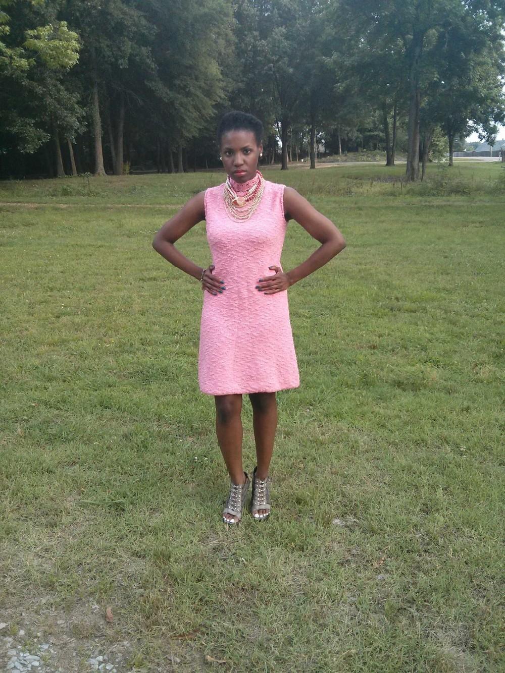 dress and necklace: vintage; shoes: Jessica Simpson