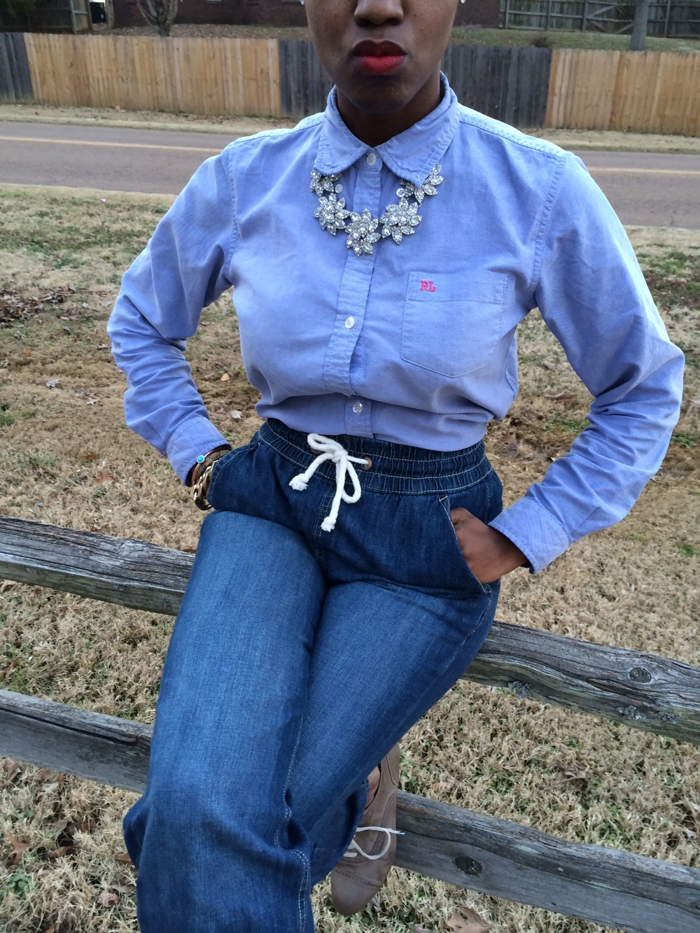 outfit details: shirt: Ralph Lauren, thifted; jeans: H&M; shoes: Forever 21; necklace: Versona