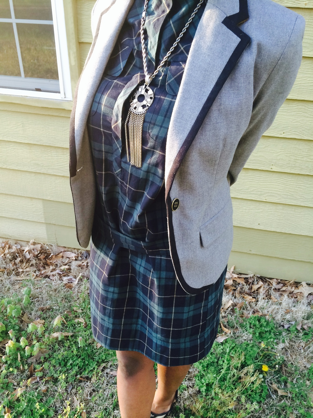outfit details- dress: Southern Thrift; blazer: Target: shoes: Kenneth Cole c/o TJ Maxx