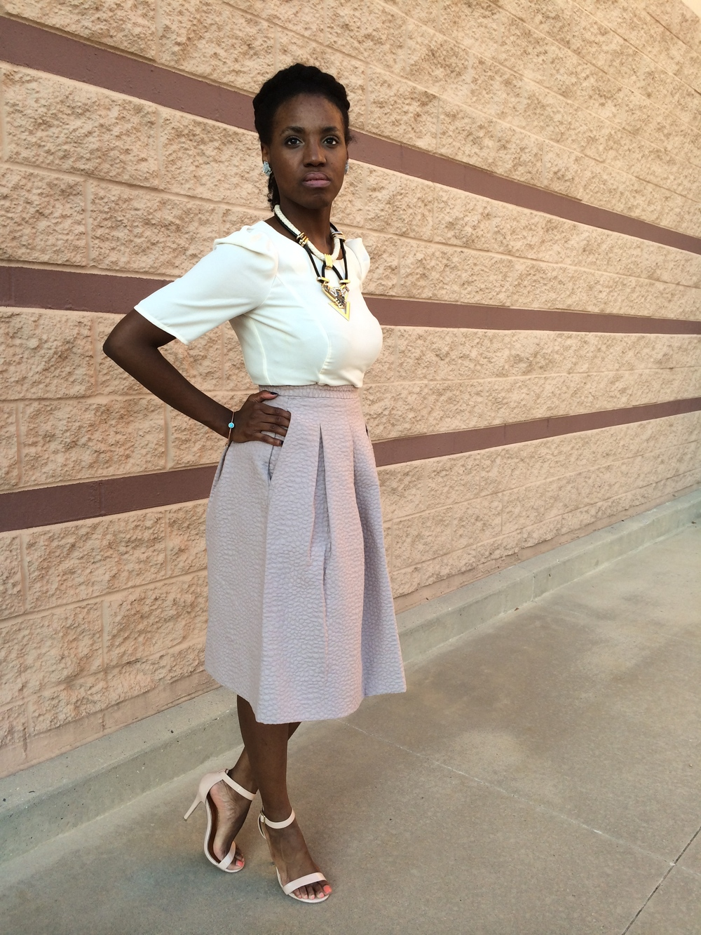 outfit deets: shirt - Forever 21; skirt- H&M; shoes- Steve Madden; necklace- TOPSHOP; earrings- vintage; bracelet- thrifted