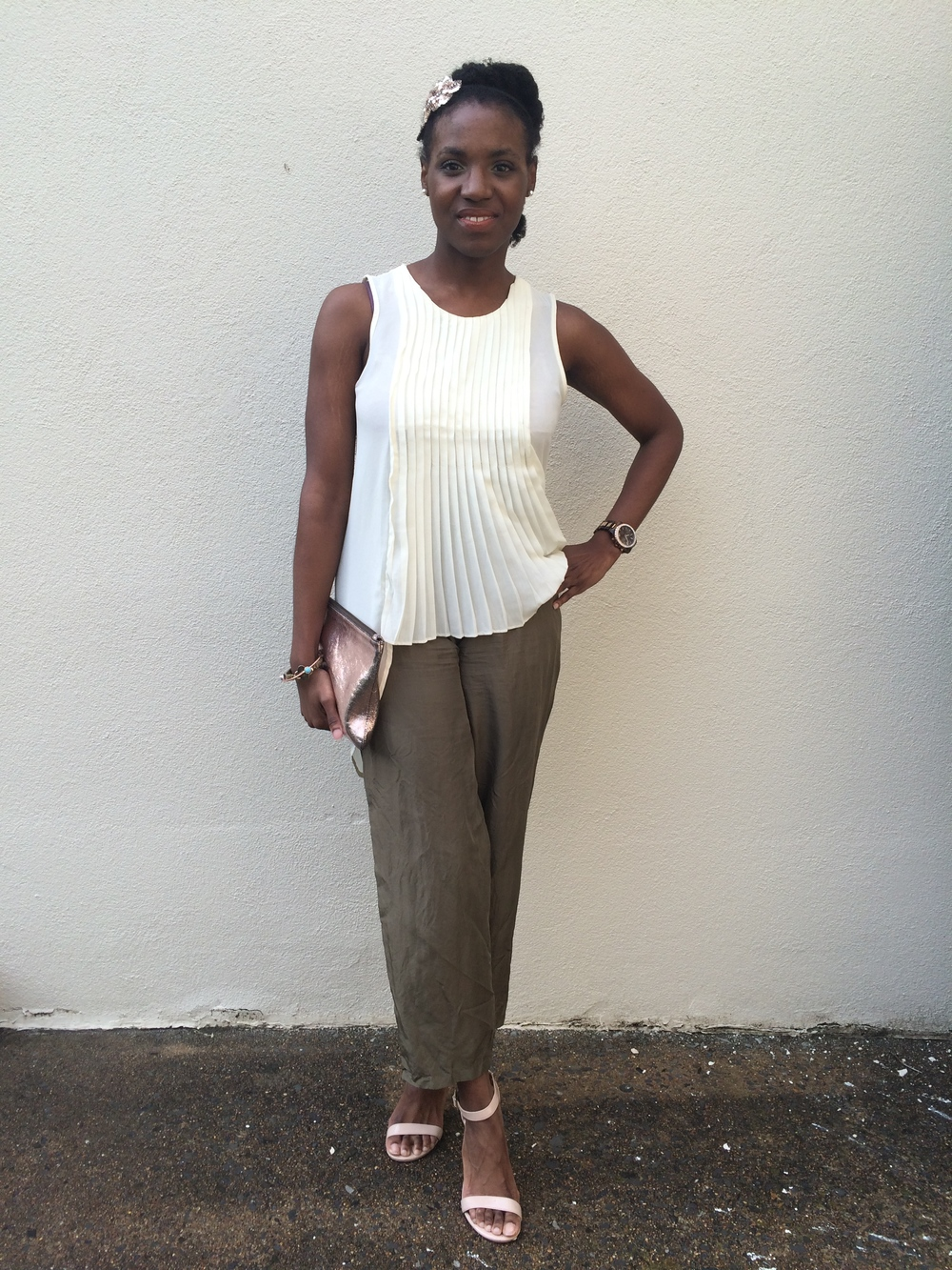 outfit deets- pants: vintage; shirt: Buffalo Exchange; shoes: Steve Madden c/o Macy's; clutch: Marc Jacobs for Target