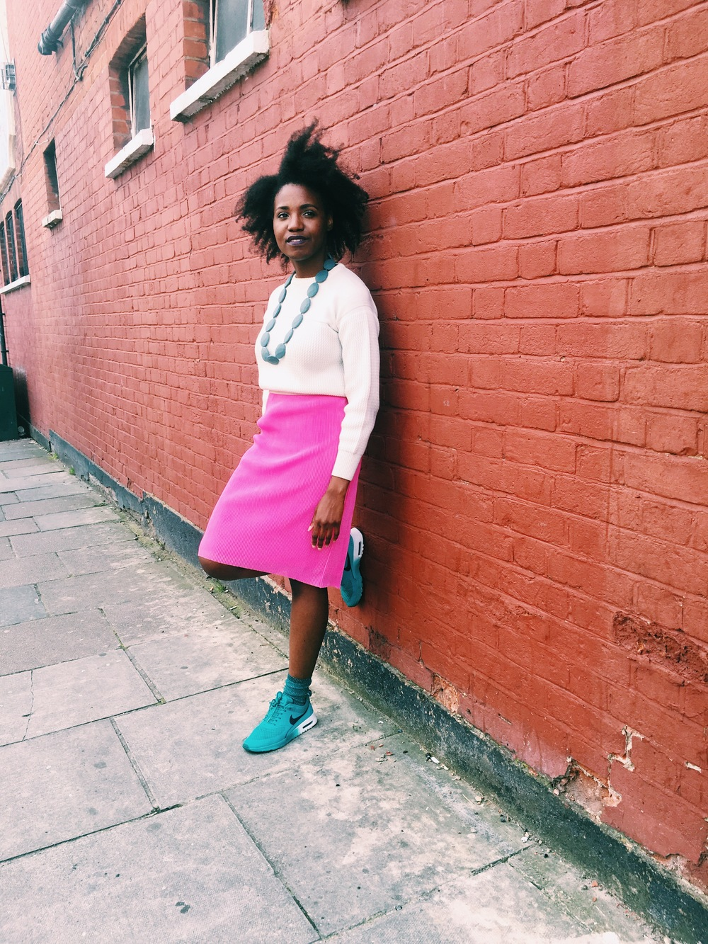 outfit details: sweater - vintage ( here ); skirt - (similar  here ,  here ); socks - Topshop ( here ); shoes - Nike ( here ), JuJu ( here )