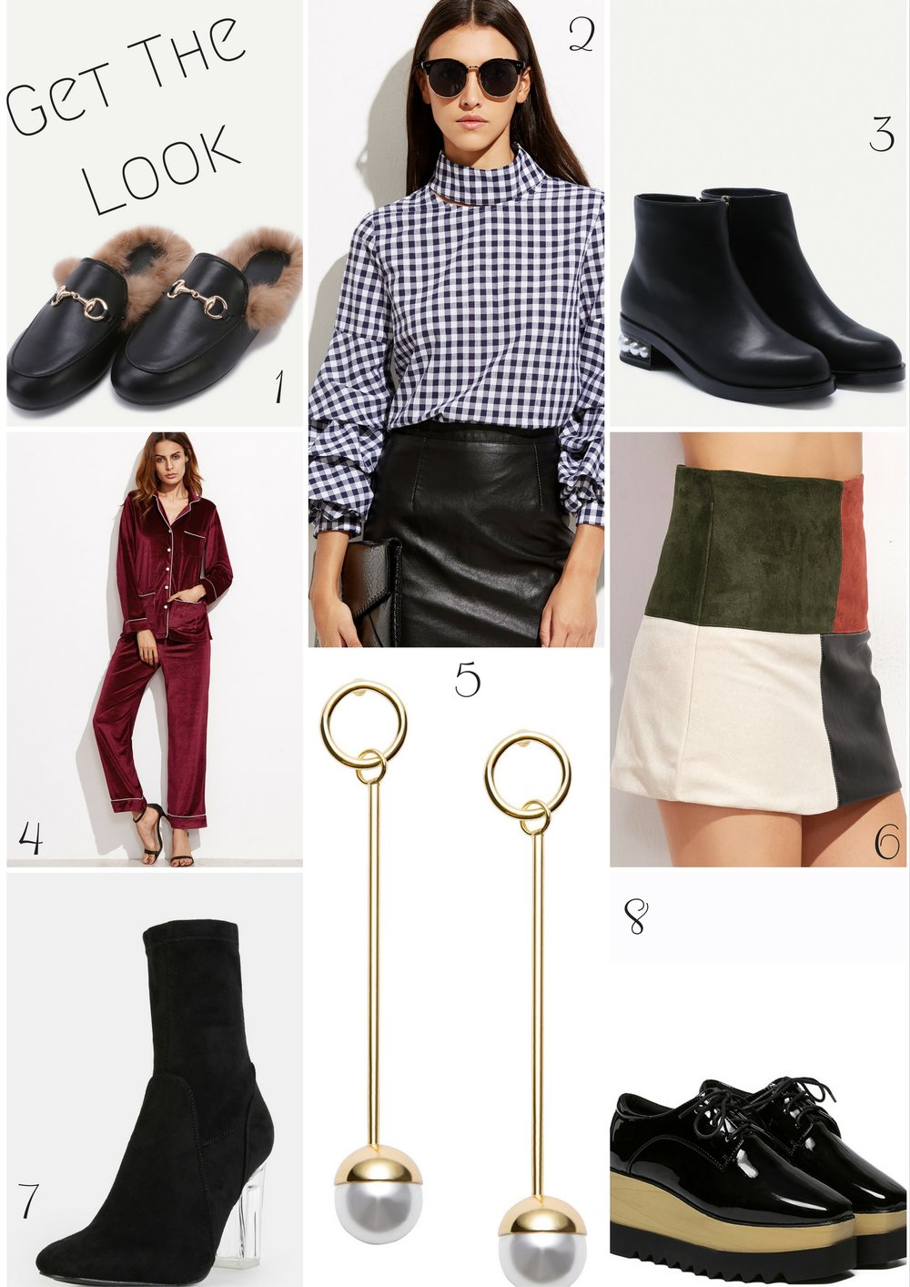 Use Offer Code:  DP40 for an additional 40% OFF featured items 1.  Black Faux Leather fur lined slippers    2.   Gingham Billow sleeve blouse   3.  Black Faux Leather Pearl Heel Ankle boots    4.  Burgundy velvet pajama suit   5.   Long Drop Pearl Earrings   6.   Contrast Patchwork Skirt   7.    Black High Shaft Clear Heel Booties   8.  Black Patent LaceUp Flatform Oxfords