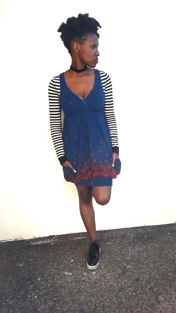 outfit deets - sweater: H&M (here), jumper dress: old (here), shoes: Zara (here); choker: Punky Fish London (here)