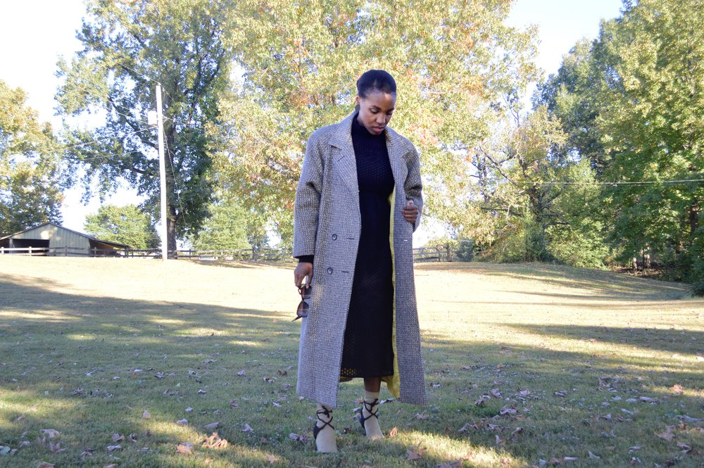 outfit details - coat: thrifted ( here )( here ); dress: H&M ( here )( here ); socks: H&M ( here ); shoes: thrifted ( here )( here ); earrings: H&M ( here )( here )