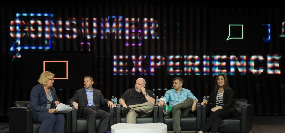 Left to right: Tess Vigeland, Chris Chippendale, ENT Federal Credit Union; Michael Sullivan, McGraw-Hill Federal Credit Union; Gary Vaynerchuk and Randi Zuckerberg.