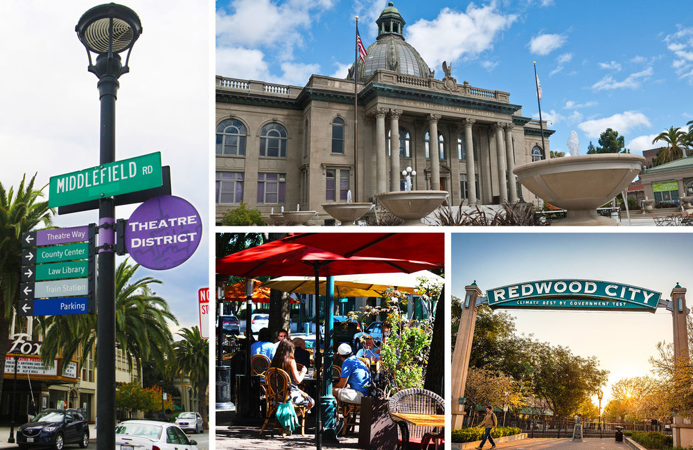 Clockwise from left:   Theatre District  courtesy of San Mateo County/Silicon Valley Convention & Visitors Bureau by Edna Takeda Geller  San Mateo County History Museum  courtesy of San Mateo County/Silicon Valley Convention & Visitors Bureau  Redwood City Arch  courtesy of San Mateo County/Silicon Valley Convention & Visitors Bureau by City of Redwood City  Downtown Redwood City  courtesy of San Mateo County/Silicon Valley Convention & Visitors Bureau by Edna Takeda Geller
