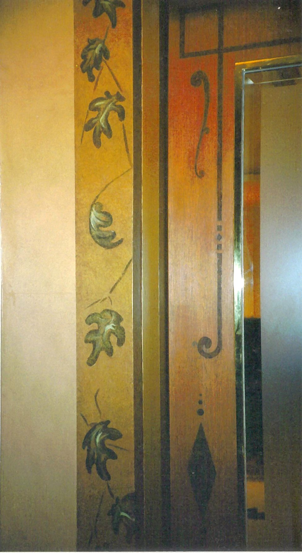 Door with painted inlay