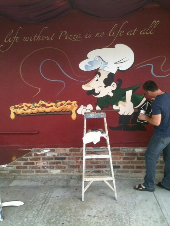 Cafe store front mural
