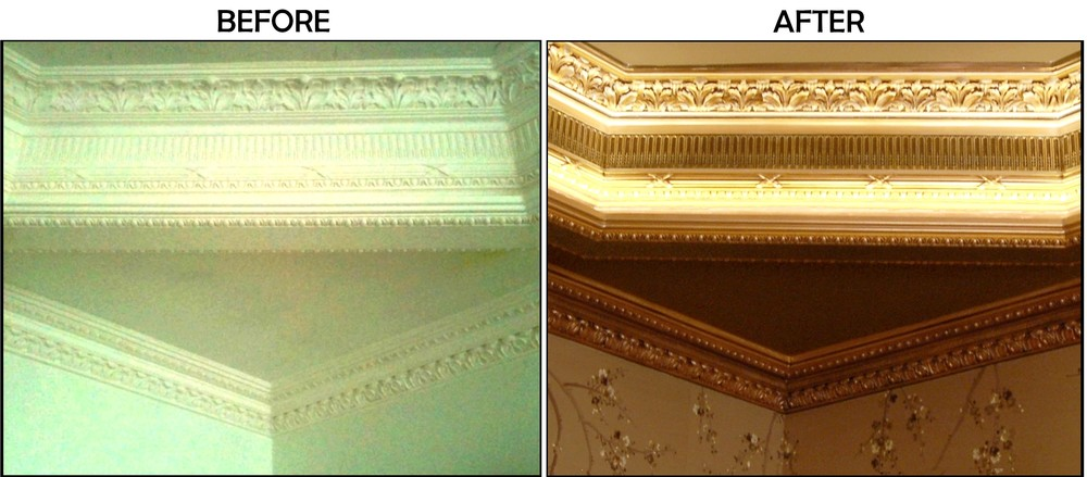 Various Metallic colors applied and antique detailing added