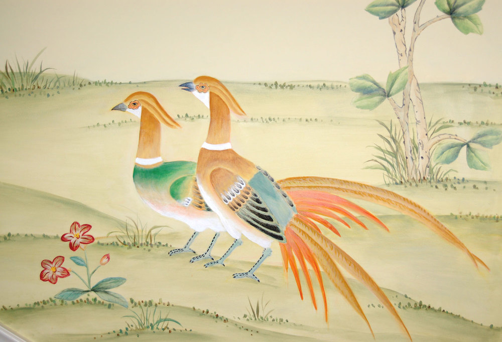 Detail of Hand Painted Chinoiserie scene