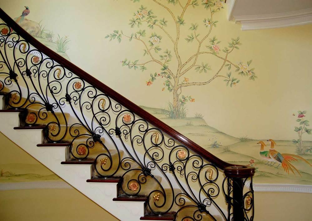 Stairway Hand Painted Chinoiserie scene
