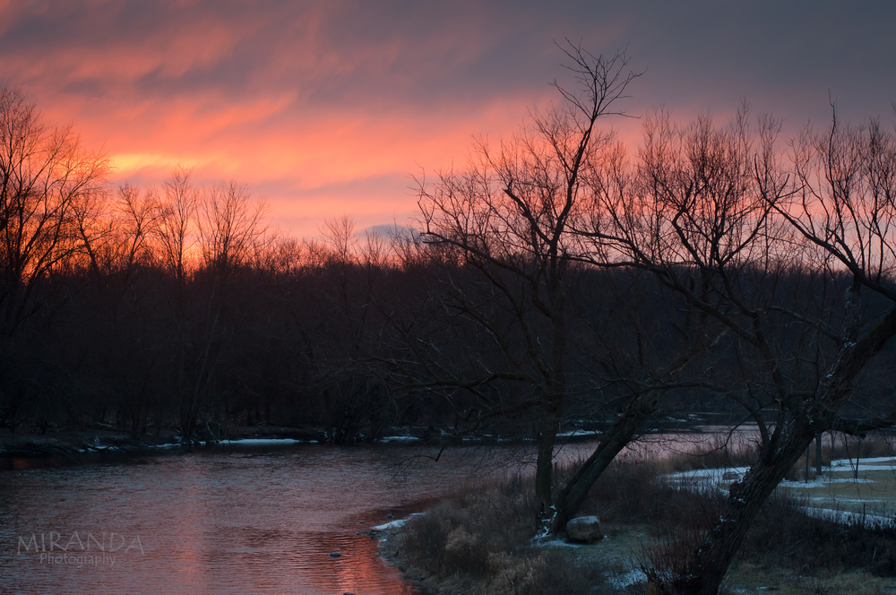 Sunset over the Fox River, West Dundee, Illinois