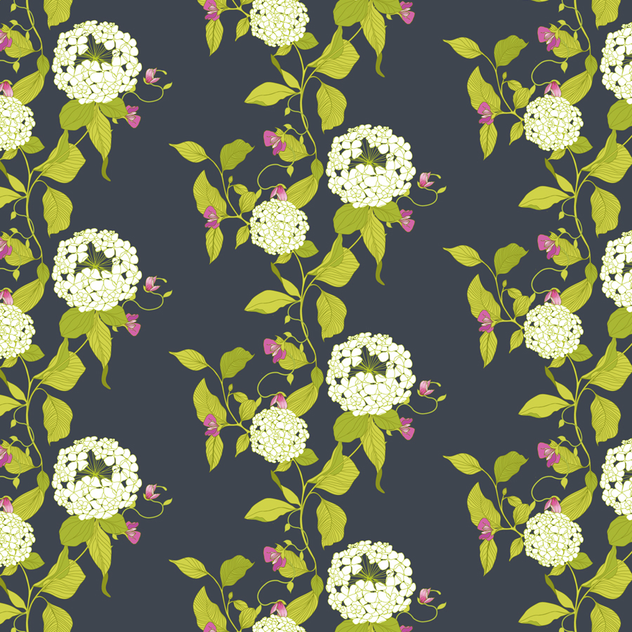 hydrangea pattern, hydrangea illustration, hydrangea, surface pattern design, botanical, wallpaper, fabric, floral, floral pattern, melissa crowley,