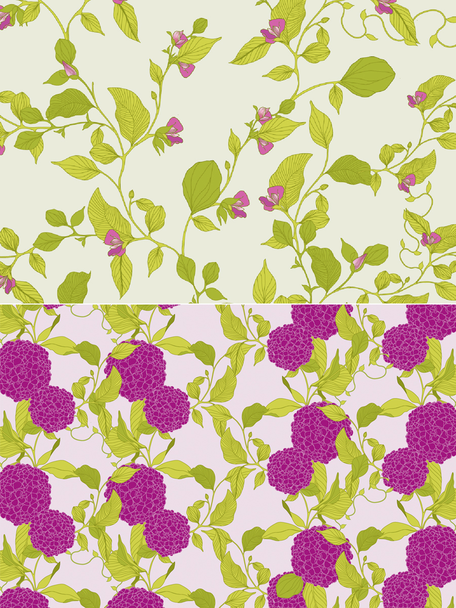 hydrangea pattern, hydrangea illustration, hydrangea, surface pattern design, botanical, wallpaper, fabric, floral, floral pattern, melissa crowley