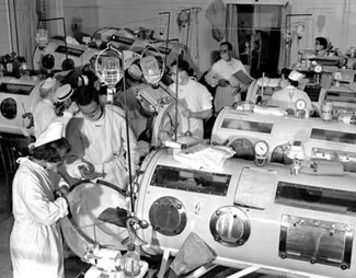 Iron lung ward during Boston epidemic. March of Dimes photo.