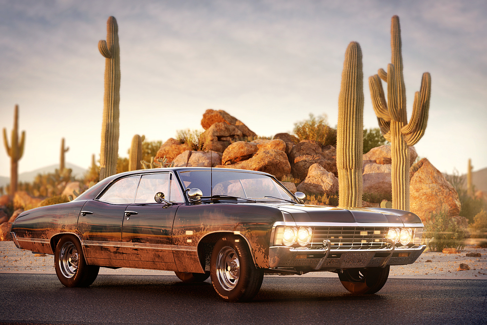 Chevrlolet Impala '67 and desert by Evermotion