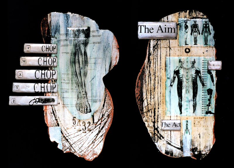 'Severance' & 'The Aim'. Black Earthenware, coloured slips, screen printed enamels, wire. 1995