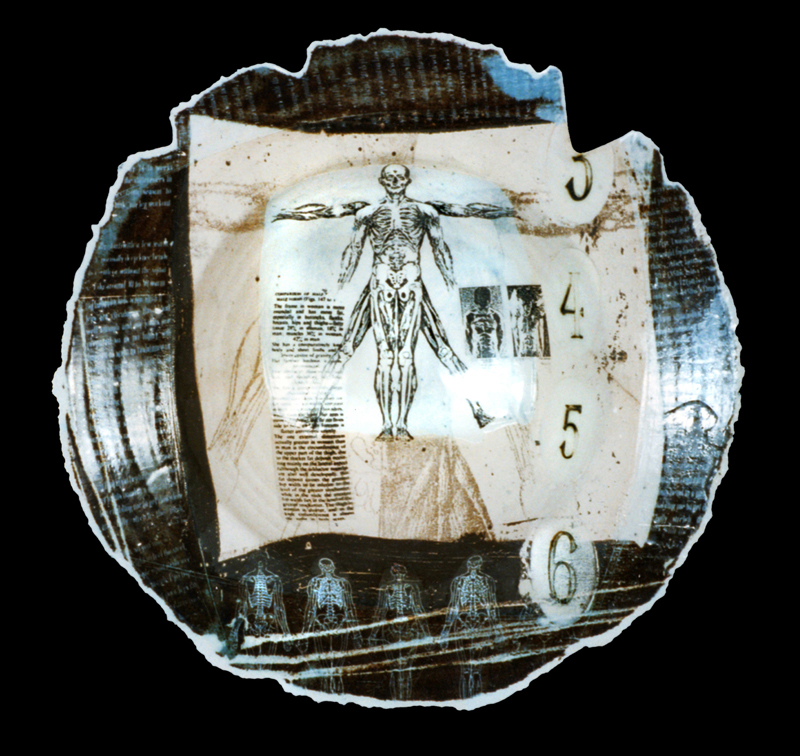 'Anatomy Platter'. White Earthenware, coloured slips, screen printed enamels. 1995
