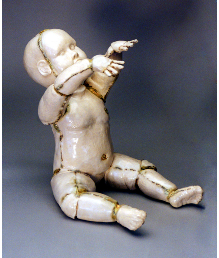 'Look Mummy!' White Stoneware, satin glaze with Vanadium pentoxide. 1997