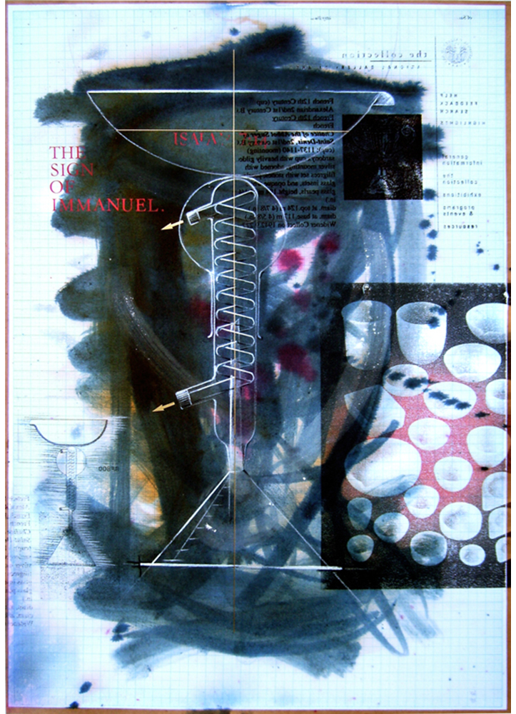 'Study for Chalice'. Acetone print on graph paper, conte pencil, ink. 1997