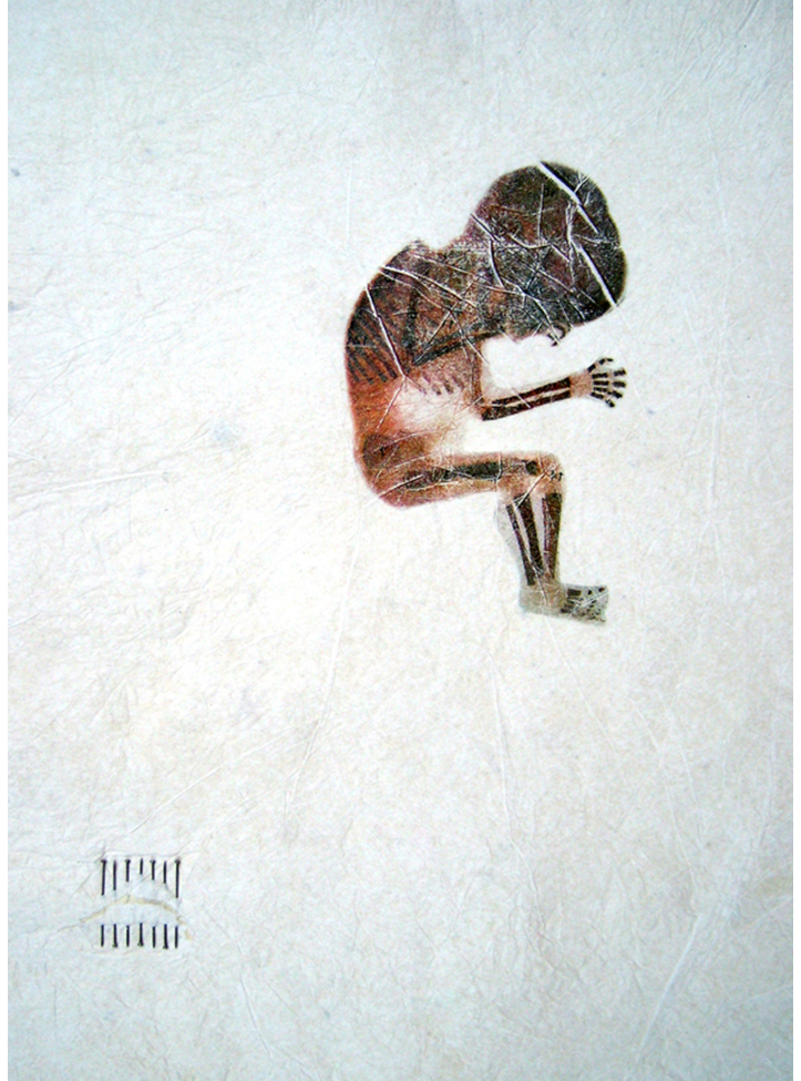 'Study for JesusFoetus'. Acetone print on tissue paper, pins. 1997