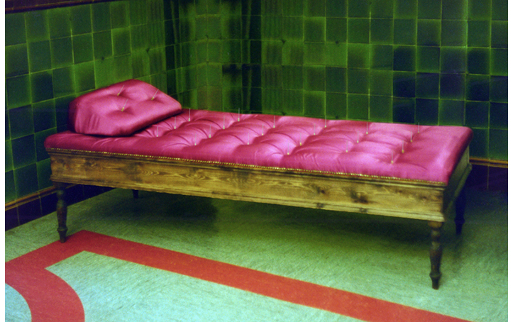 'Bed of Nails'. Wood, satin, hypodermic needles. 2000